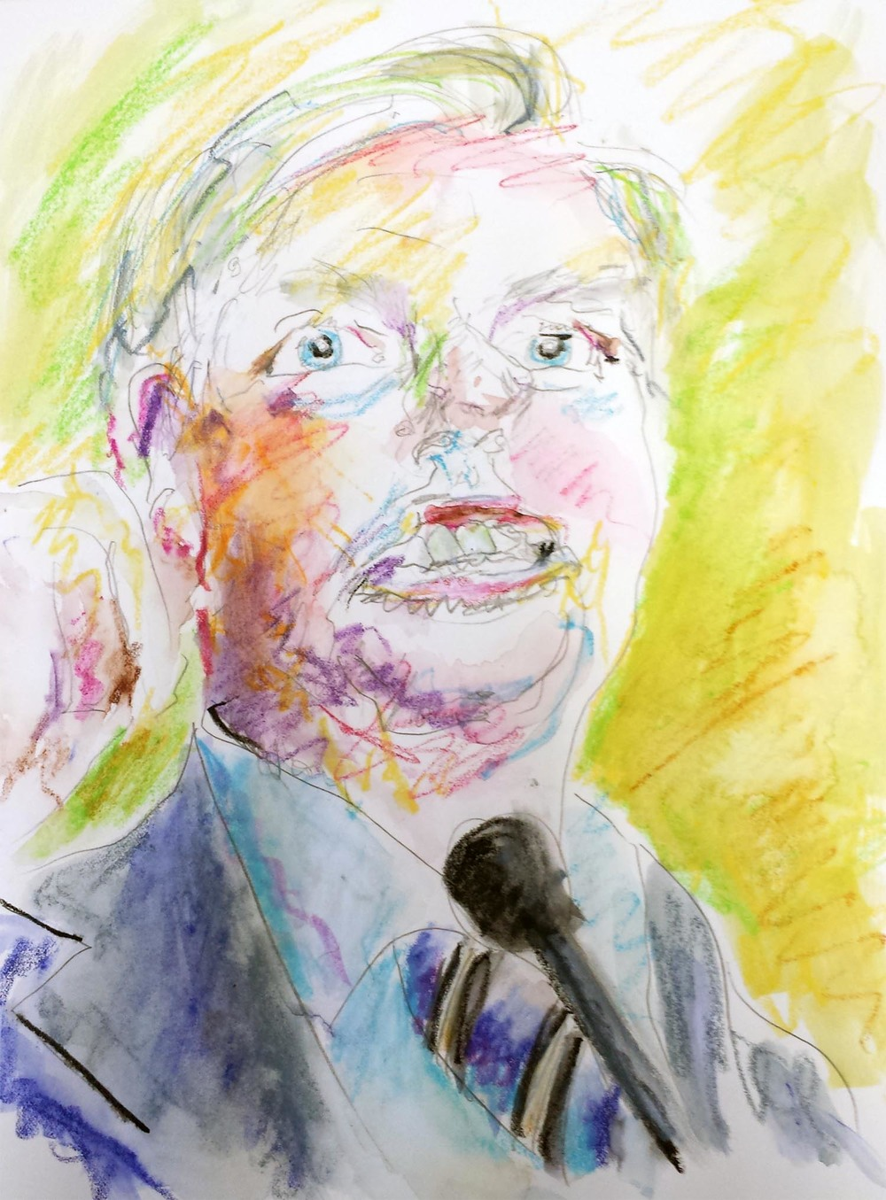 "Lindsey Graham, mixed-media on Arches paper, 12"" x 9"" 2015"