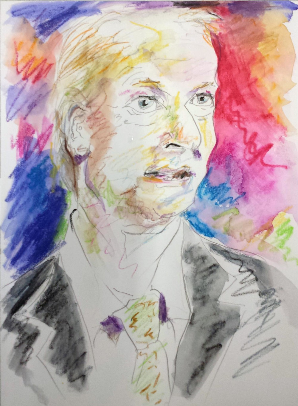 "Lincoln Chafee, mixed-media on Arches paper, 12"" x 9"" 2015"