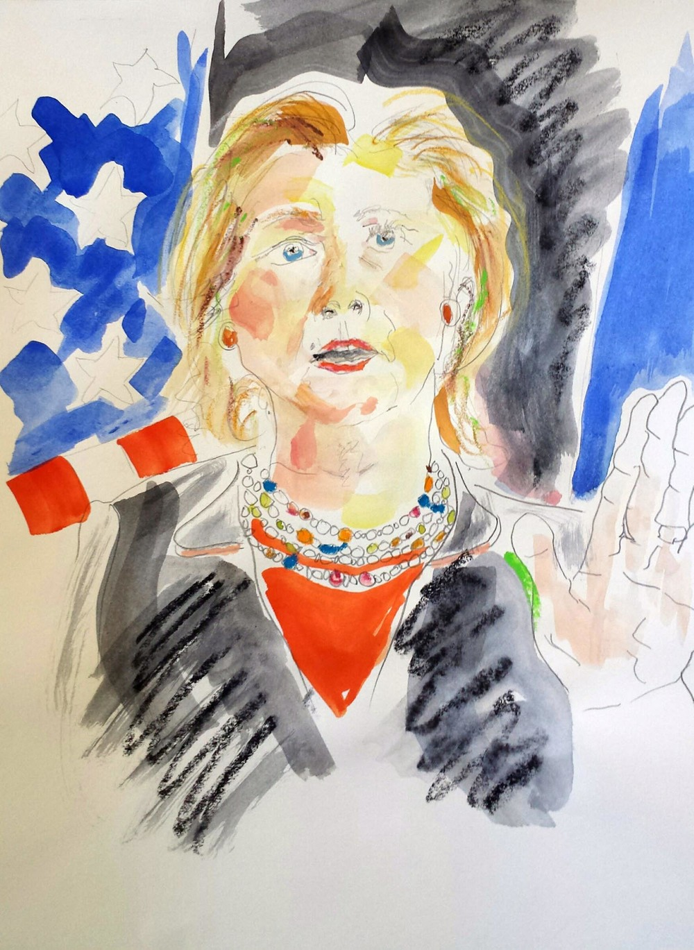 "Hillary Clinton, mixed-media on Arches paper, 12"" x 9"" 2015"