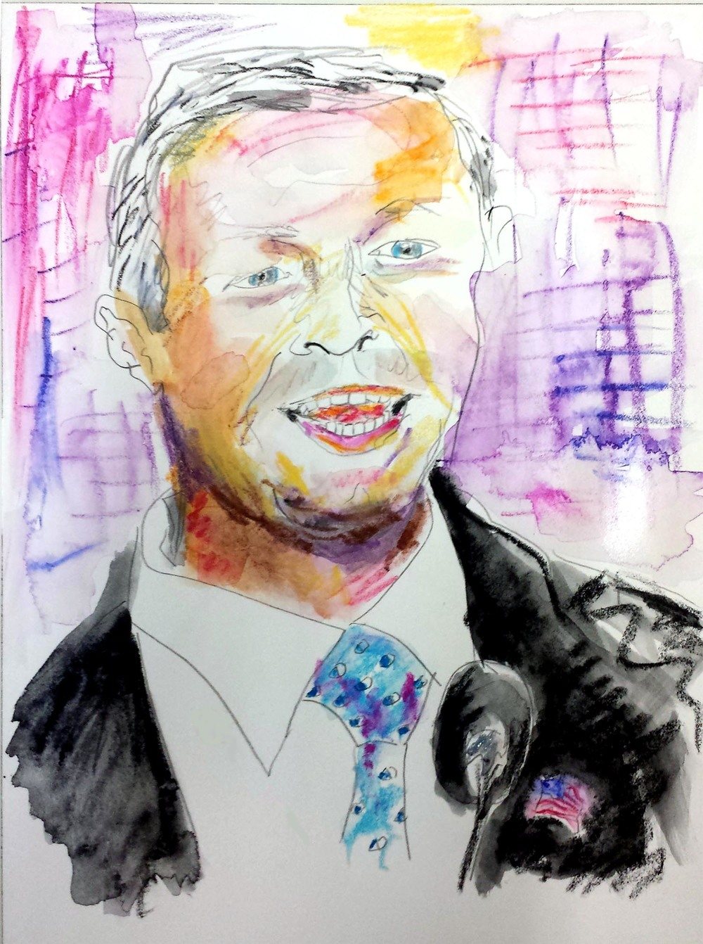 "Martin O'Malley, mixed-media on Arches paper, 12"" x 9"" 2015"