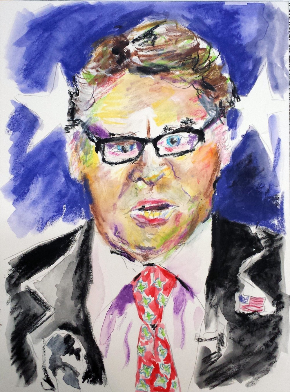 "Rick Perry, mixed-media on Arches paper, 12"" x 9"" 2015"