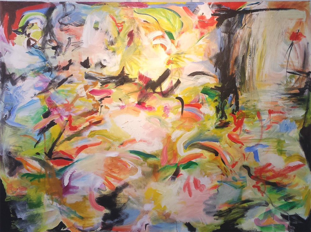 "Koi Pond 9, oil on canvas, 48"" x 60"" 2015"