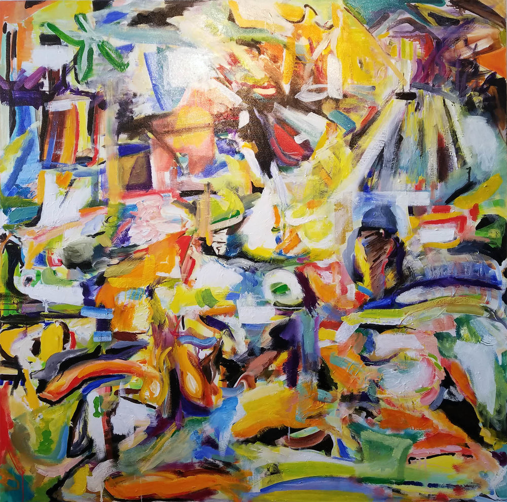 "Koi Pond Series VI, 48"" x 48"" oil on canvas 2014-18"