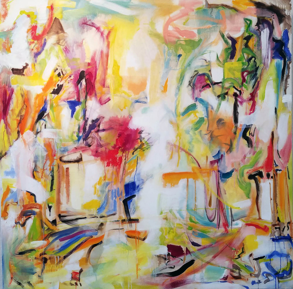 "Koi Pond Improvisation I, 48"" x 48"" oil on canvas 2018"