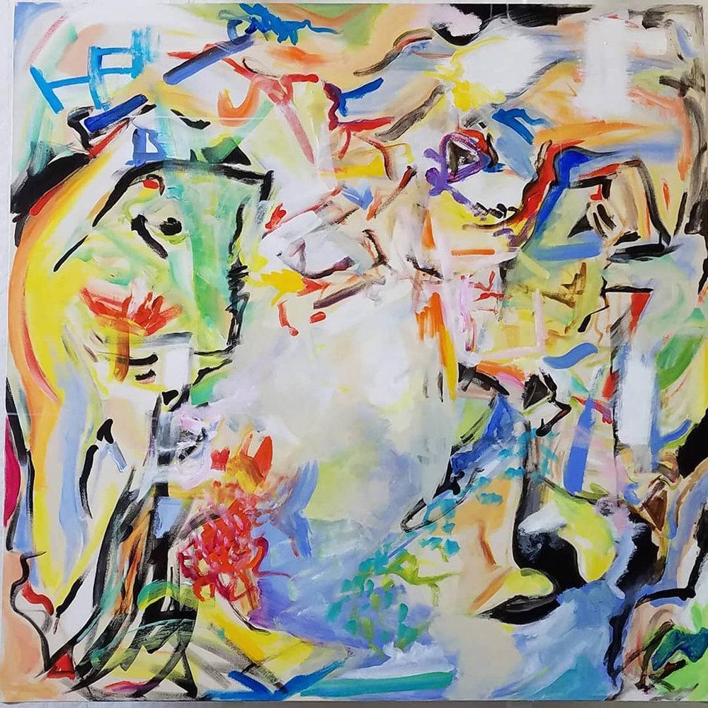 "Phoenix Rising, acrylic on canvas, 48"" x 48"" 2018"