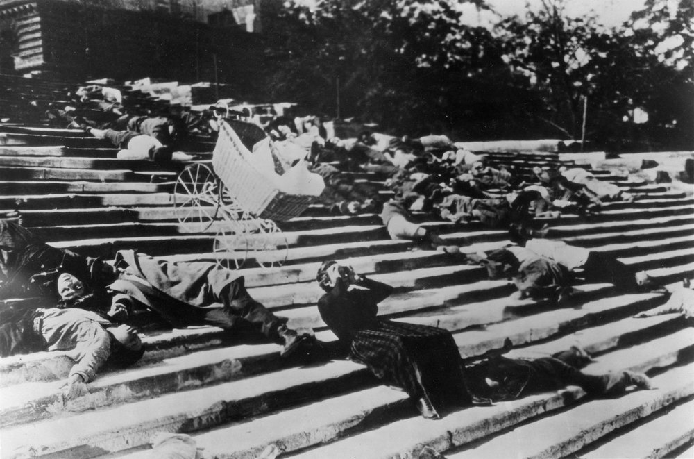 Sergei Eisenstein is the founding father of 'montage' - back in the 1920s! The Odessa Steps sequence from Battleship Potemkin is arguably the most famous montage e v e r. Click the picture to see it in full.