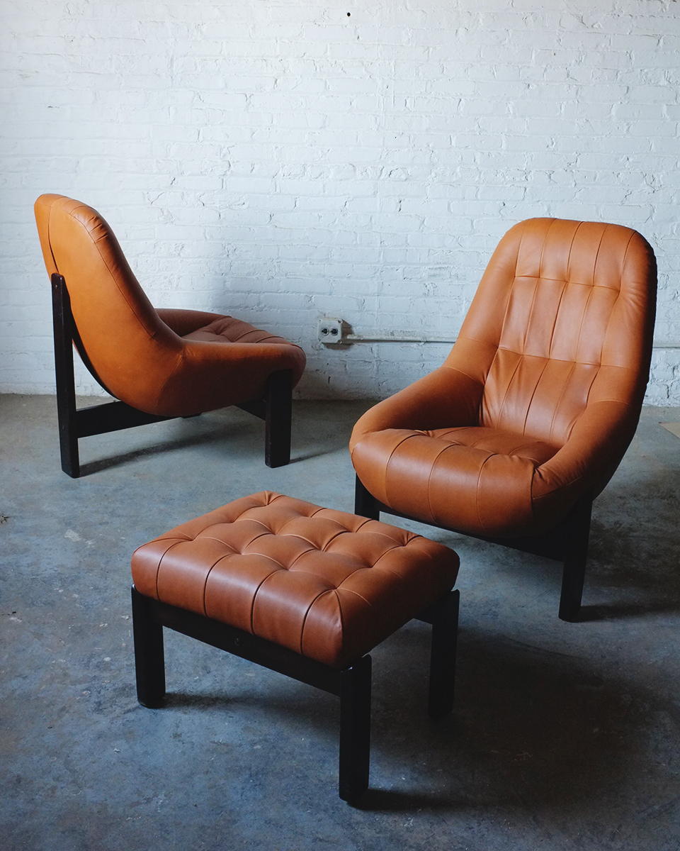 Jean Gillon for Italma, Brazilian Modern Lounge Chairs redone in new leather.