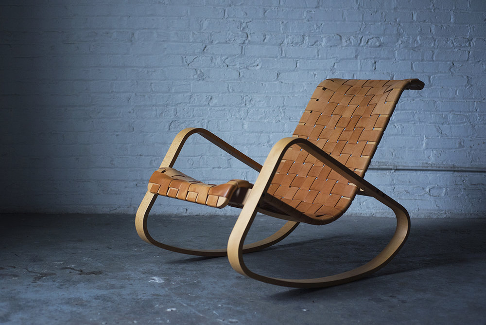 Woven Leather Rocking Chair by Luigi Crassevig