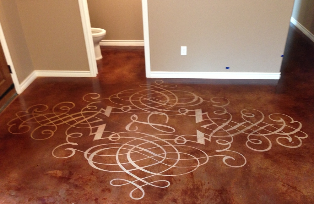 Stained Concrete with Stencil Relief