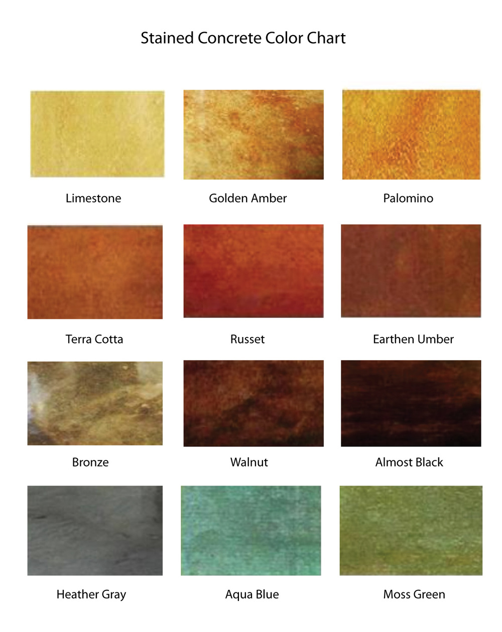 Concrete color chart taylored finishes llc