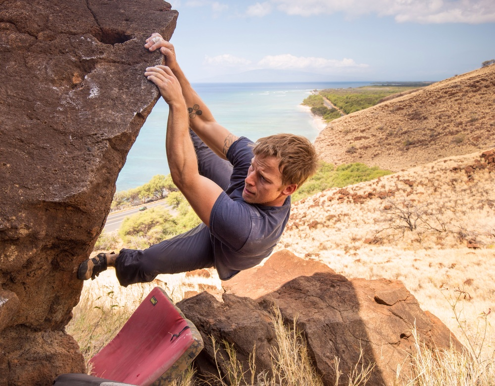 Matt Stelmach at the Pali boulders, near Lahaina. Matt's one of Maui's earliest developers. PC: Drew