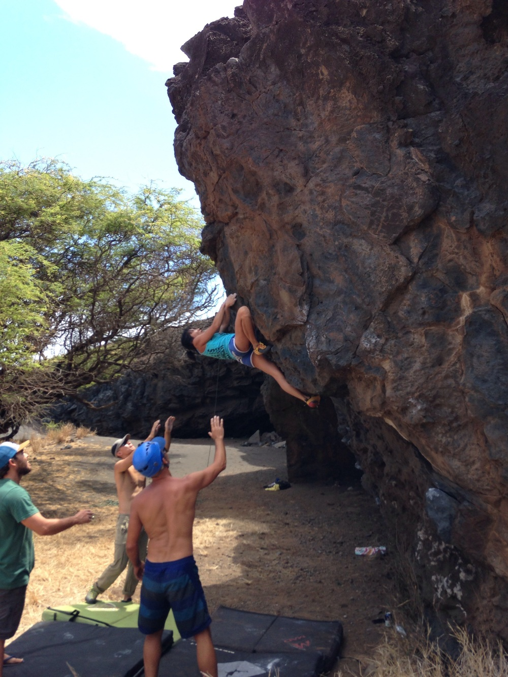 Wai Yi on a fun V4ish arête a stone's throw from Piilani highway near PK. PC: Matt
