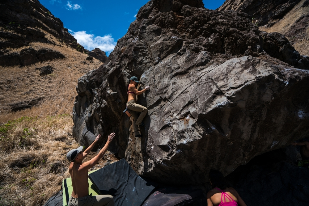 Rosie slab climbing on thousand degree rock. PC: Andrew Agcaoili