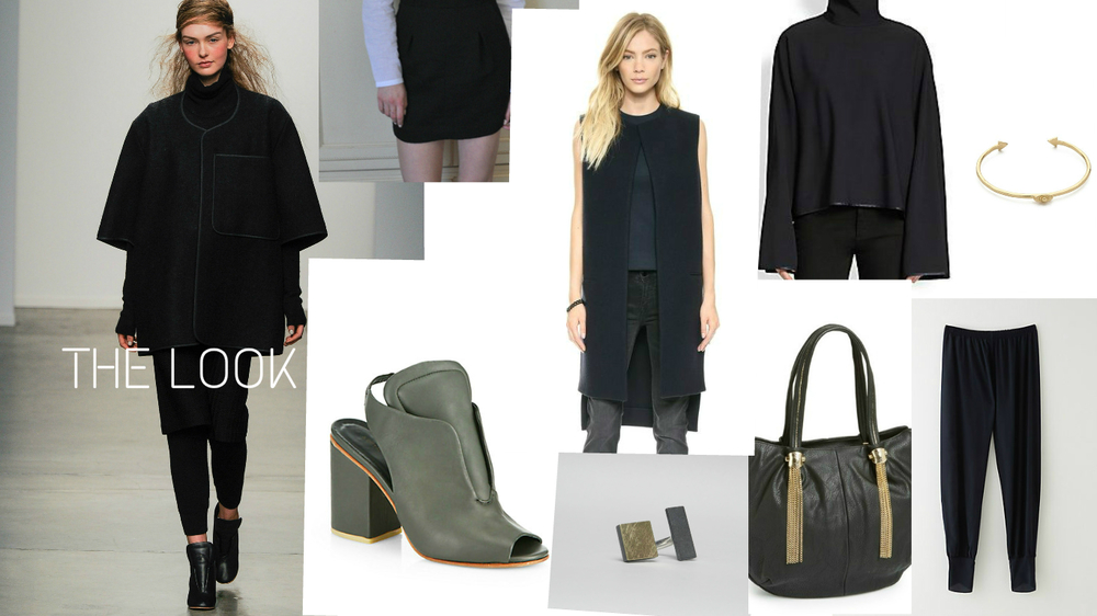 The Look: A Detacher Ready To Wear Collection FW2014 (source: Style.com), Skirt: A Piece Apart, Vest/Coat: Victoria Beckham, Turtleneck: Acne Studios, Bracelet: Bing Bang, Shoes: A Detacher, Ring: Bande Dea, Bag: Big Buddha, Leggings: Alasdair.