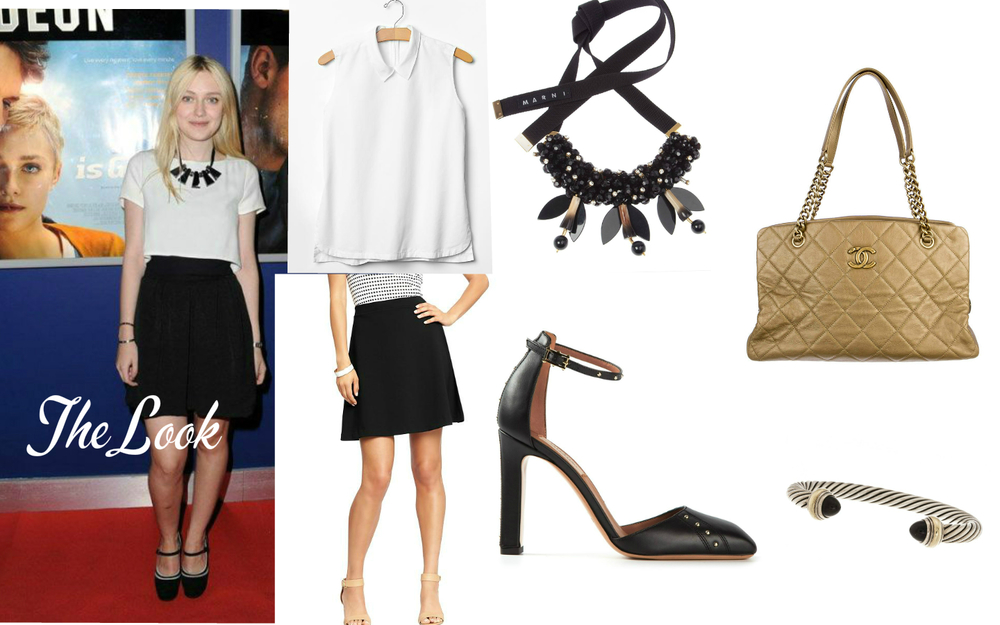 "The Look: Dakota Fanning at ""Now is Good"" screening. Top: GAP, Necklace: Marni, Bag: Chanel, Bracelet: David Yurman, Shoes:  Valentino , Skirt:  Old Navy ."