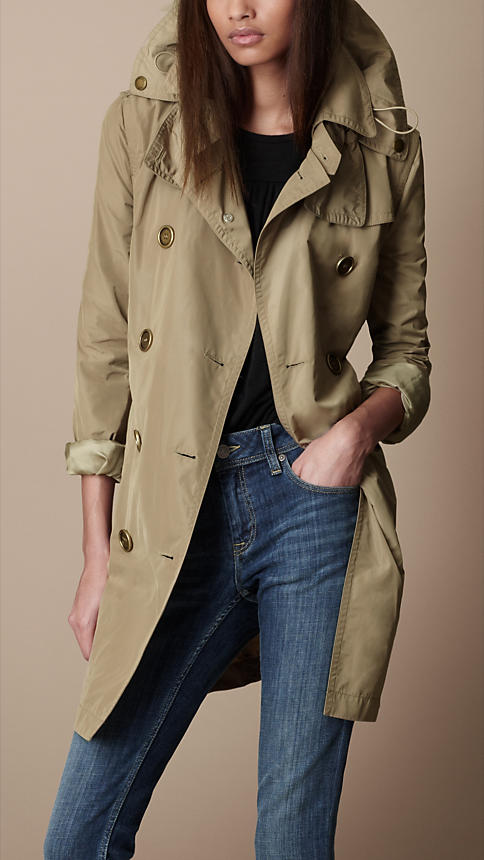 I am completely addicted to trench coats and really love this gorgeous Burberry hooded, taffeta trench coat.