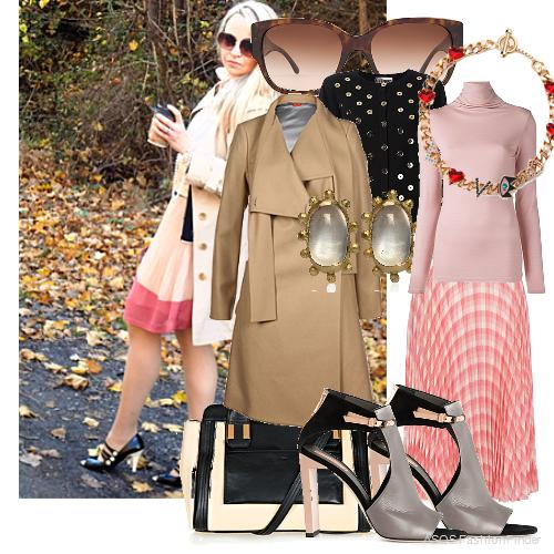 Pink check pleated midi skirt by River Island, Havana square sunglasses AR8014, Gold Moonstone Stud Earrings, Maria Francesca Pepe Chunky Chain Love Necklace - Gold, turtle neck T-shirt, button embellished cardigan, Vivienne Westwood Red Label Classic Melton Coat, 'Atlas' cut out booties