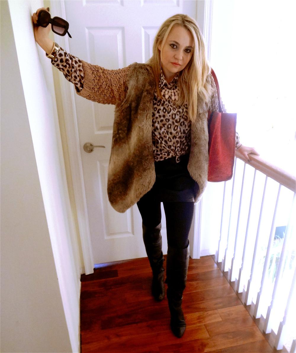 36daab7f4677 Bag:DVF, Vest: Zara, Cardigan: H&M, Blouse: H&M, Necklace: H&M, Bracelet:  Palm Beach, Skirt: IRO, Tights: Hue, Boots: Forever 21, Sunglasses: H&M