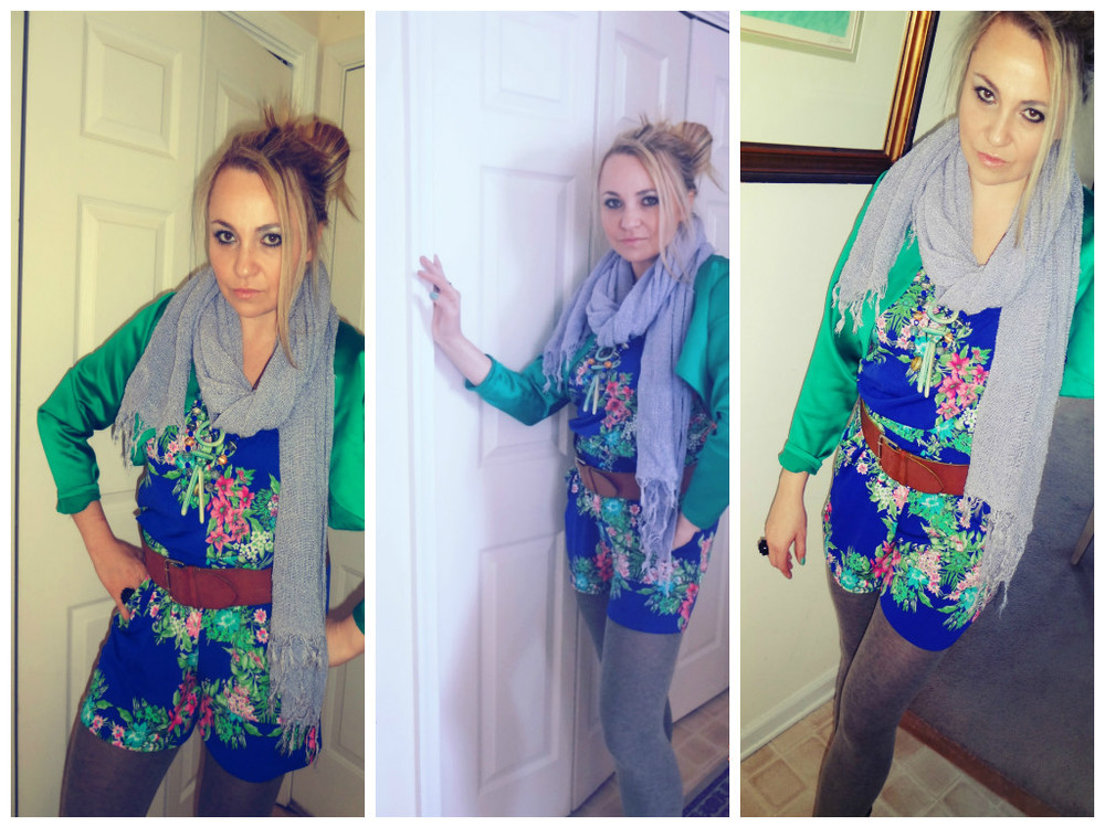 Scarf:ASOS (old), Blazer: ZofiaDesigns, Necklaces: Anthropologie, Romper: Tabeez, Belt:Express, Tights: Ellen Tracy, Shoes: Rylko, Ring: H&M, Sweater Coat: H&M, Bag: H&M