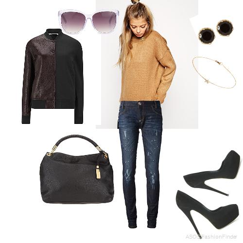 Earrings: Anna Sheffield, Bracelet: Annoushka, Jumper:  ASOS,  Shoes: CASADEI, Sunglasses:  Linda Farrow.  Jeans: PHILIPP PLEIN, Jacket:  T by Alexander Wang , Bag: Michael Kors