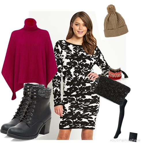 Poncho:  Joseph : Boots: New Look, Clutch: LARISSA HADJIO, Dress:Vila, Bracelet: Marni, Hat: Boots, Tights: Uniqlo
