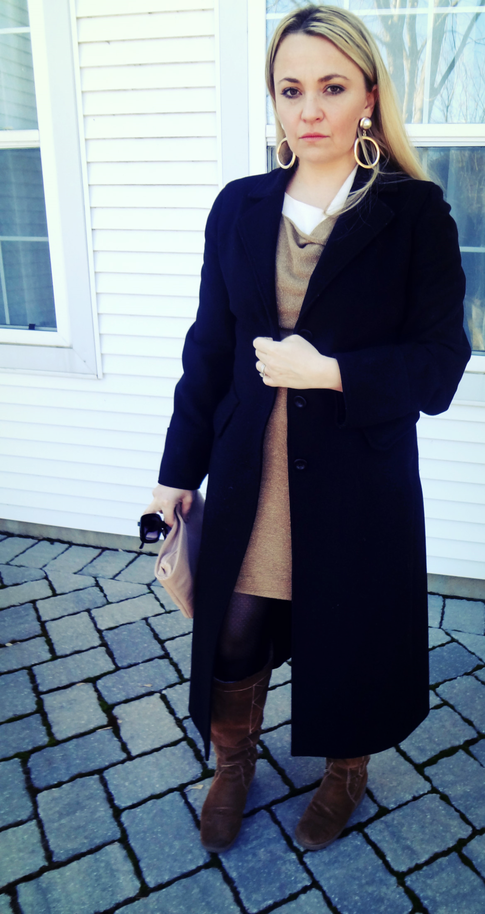 Coat: Miu Miu, Dress: 3.1 Philip Lim, Thights: Hue, Boots: Nine West, Earrings: H&M, Clutch: ASOS, Sunglasses: H&M
