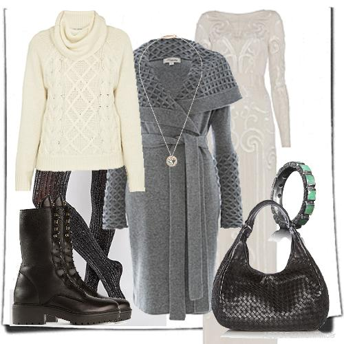 Tights: ASOS, Jumper:  AUTUMN CASHMERE , Bag: Bottega Veneta, Ring: Nak Armstrong, Necklace: Suzanne Kalan, Dress: Temperley London, Jacket: Temperley London, Boots: Versace