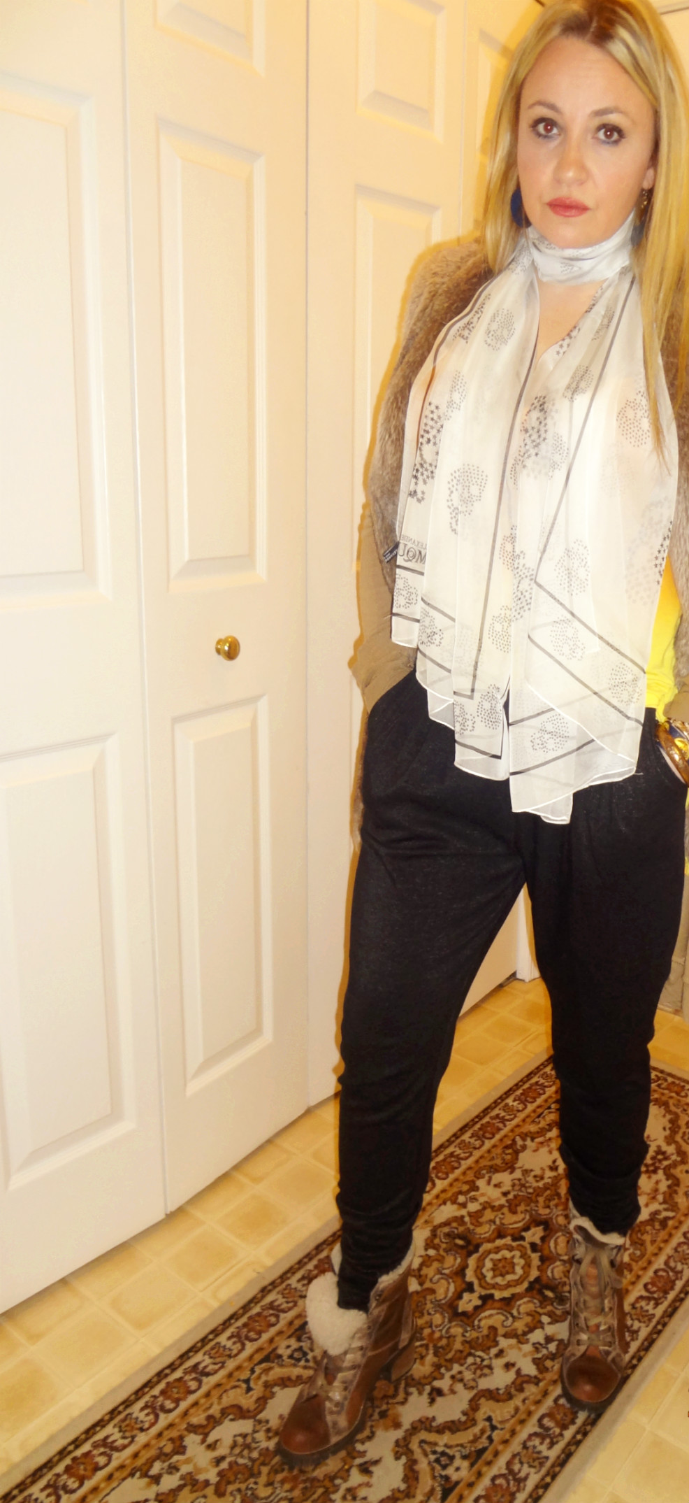 Vest: Zara ( similar here ), Cardigan: Anthropologie, Top: H&M, Scarf:  Alexander McQueen , Pants: H&M, Boots: Aldo, Necklace: Kenneth Jay Lane, Earrings: One Kings Lane