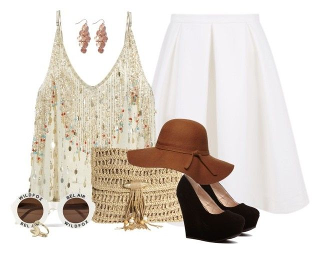 CALYPSO St. Barth Tank, Keepsake Skirt, CiCiHot Wedges, SKEMO Clutch, Esmeralda Earrings, Miss Selfridge Ring Set, Dorothy Perkins Floppy Hat, Wildfox Sunglasses