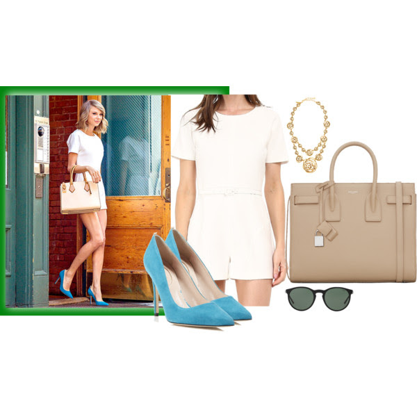 Romper: Rachel Zoe, Shoes: Sarah Jessica Parker, Bag: YSL, Necklace: Oscar de la Renta, Sunglasses: Polo Ralph Lauren