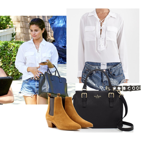 Blouse: Knox, Shorts: One Teaspoon Bandits, Boots: Saint Laurent, Bag: Kate Spade, Belt: Topshop