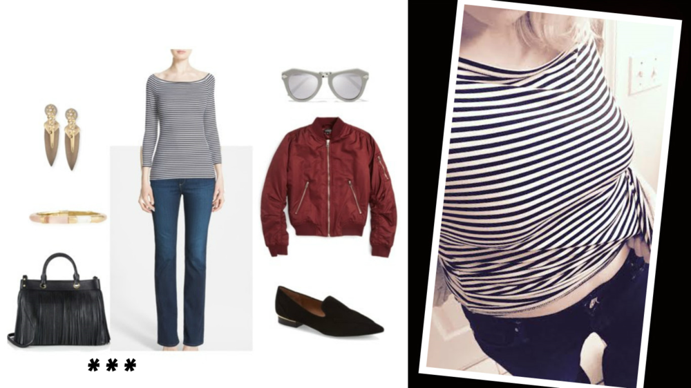 Earrings: Alexis Bittar, Top: Theory, Sunglasses: Karen Walker, Jacket: Topshop, Shoes: Topshop, Jeans: AG, Bag: Milly, Bracelet: Alexis Bittar