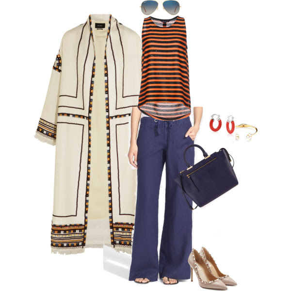 Top: French Connection (old), I like this one , Coat: Isabel Marant, Pants: Joie, Pumps: Valentino, Tote: Henri Bendel sold out, Earrings: Bling Jewelry (love these from Emerald Park Jewelry ,) Bracelet: Kate Spade, Sunglasses: Ray-Ban