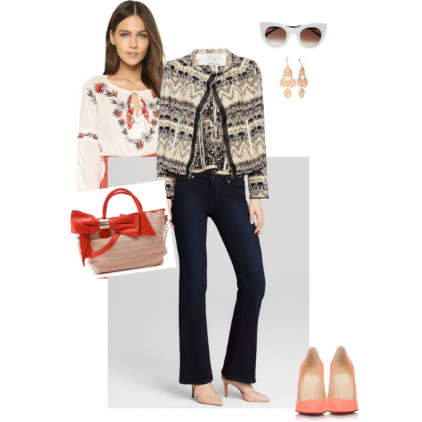 Top:  Tory Burch , Jacket:  IRO , Jeans:  Page , Pumps: Christian Loubouitn (old) love these but I am sure  these  are super uncomfortable, Bag: Deux Lux (soldo out), Earrings: Belk (old) love these from  Emerald Park Jewlry , Sunglasses:  Thierry Lasry