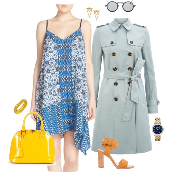 Dress: Adelyn Rae, Trench: Hobbs Saskia, Shoes: Joie, Bag: Relaxfeel, Watch: Micahel Kors, You can accessorize with this bracelet from Emerald Park Jewelry and Sunglasses: Forever 21