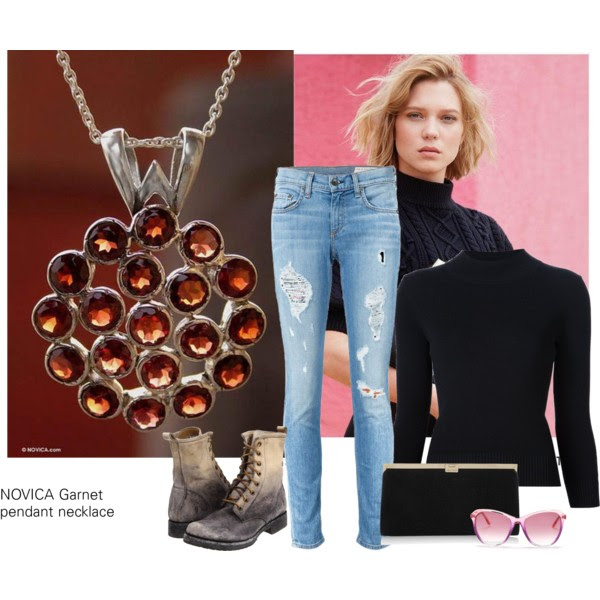 Sweater: Alexander McQueen, Jeans: Rag&Bone, Boots: Frye, Clutch: Jimmy Choo, Necklace: Novica, ( love this one from Emerald Park Jewelry as an alternative and if you are not a big fan of pendant necklaces), Sunglasses: Wildfox