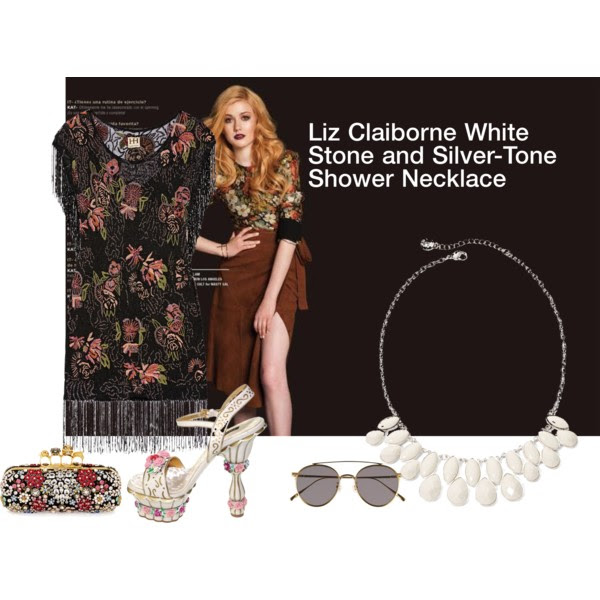 Dress: Haute Hippie, Pumps: Dolce&Gabbana, Clutch:  Alexander McQueen , Necklace:  Liz Clairbone  (or this Assorted Fashionista Necklace from  Emerald Park Jewelry ), Sunglasses: Gentle Monster.