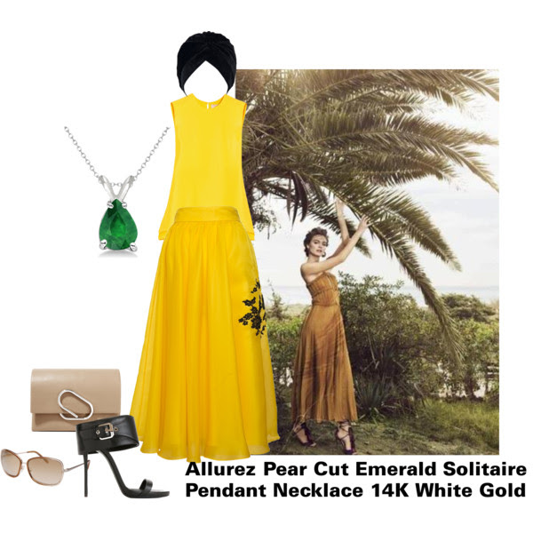 Top: Roksanda Fuji, Skirt: Parlor, Sandals: Giuseppe Zanotti, Clutch: 3.1 Phillip Lim, Necklace: Allurez ( love this one too from Emerald Park Jewerlry), Sunglasses: Calvin Klein, Turban Hat: Choies.