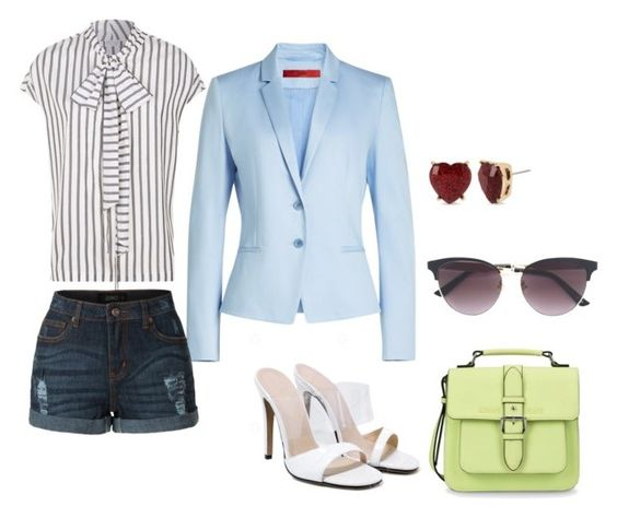 Top: Brunello Cucinelli, Blazer: Hugo, Shorts:LE3NO, Stilettos: Gamis, Bag: Armani Jeans, Earrings: Betsey Johnson, Eyewear: Gucci,