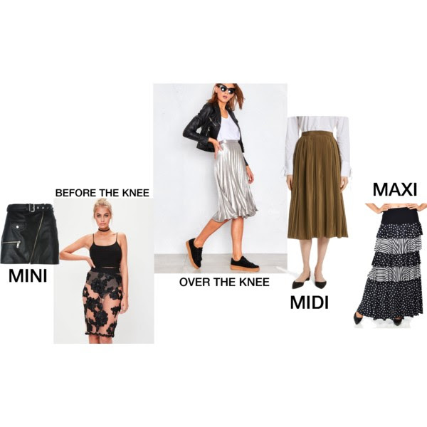 Mini:  Manokhi Fusta skirt , Before The Knee:  Missguided Floral Applique Skirt , Over The Knee:  Kati Silver Pleated Midi Skirt , Midi:  Women's Robert Rodriguez Pleated Silk Skirt , Maxi:  Etsy Polka Dot Skirt