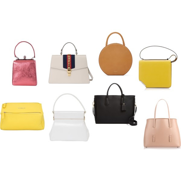 From the top left:  Nappa Leather,   Gucci,   Mansur Gavriel,   Bally,   Givenchy ,   Christian Dior,   Longchamp ,  Alaia.
