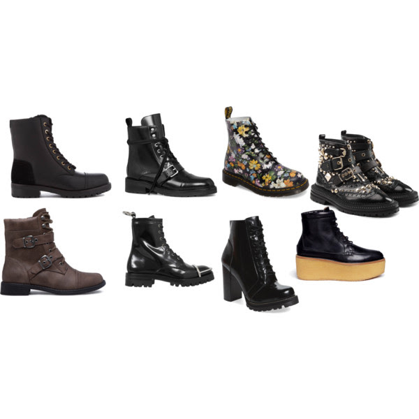 From the top left:  UGG ,  AllSaints ,  Dr. Martens ,  Burrberry ,  ShoeDazzle ,  Alexander Wang ,  Jeffrey Campbell,   Gabriella Hearst .