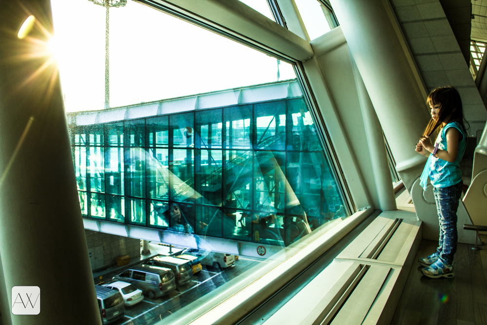 fellow passenger, Incheon airport layover, Seoul, Korea