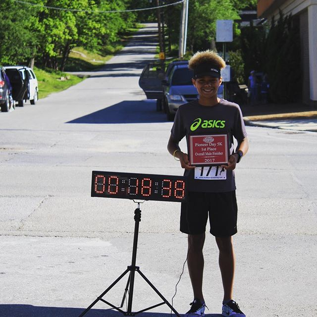 Your winner of Pioneer Days 5K @darius.j.b with a time of 18:38.8
