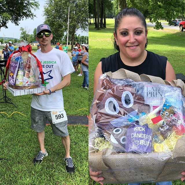What do you give away at a race for colon cancer? A poop basket and a basket with salsa to help you poop of course. @gyrig04