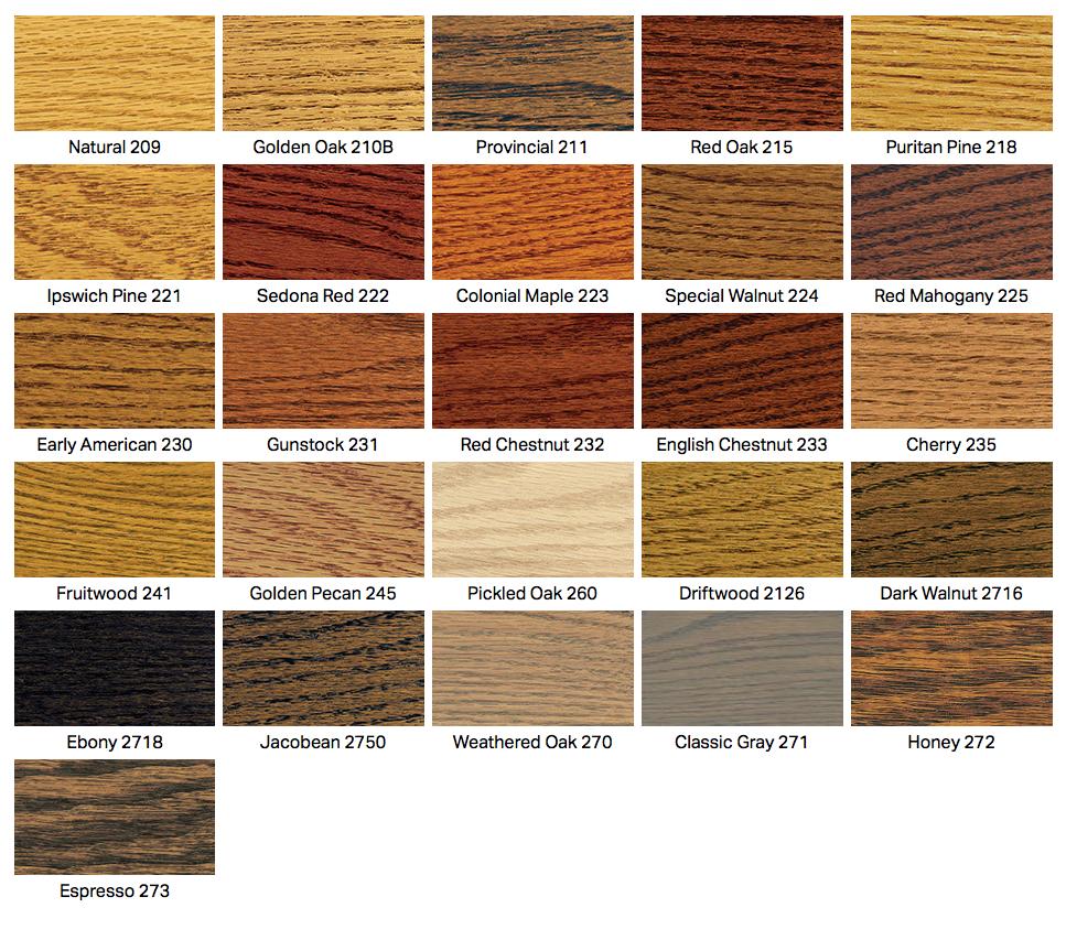 Hardwood floor stain color chart wood floors for Color floor