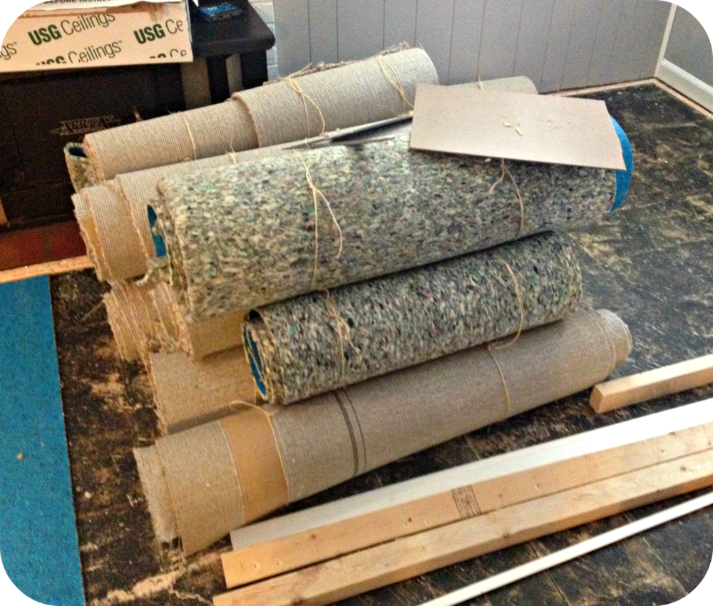 A great example of how to roll up old carpet.