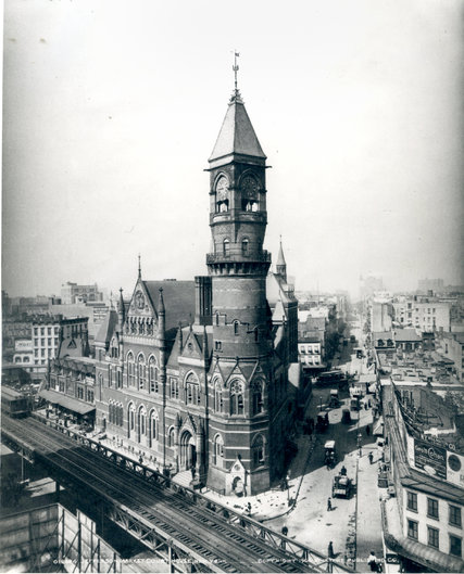 The 1877 Jefferson Market Courthouse, as it appeared in 1906.