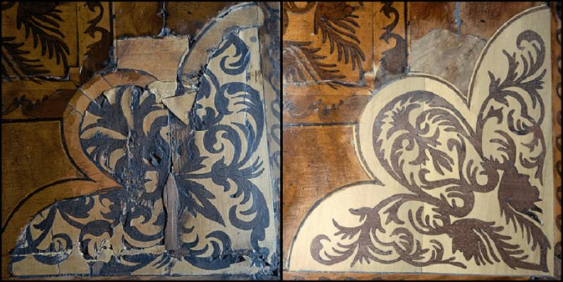 Marquetry chest veneers
