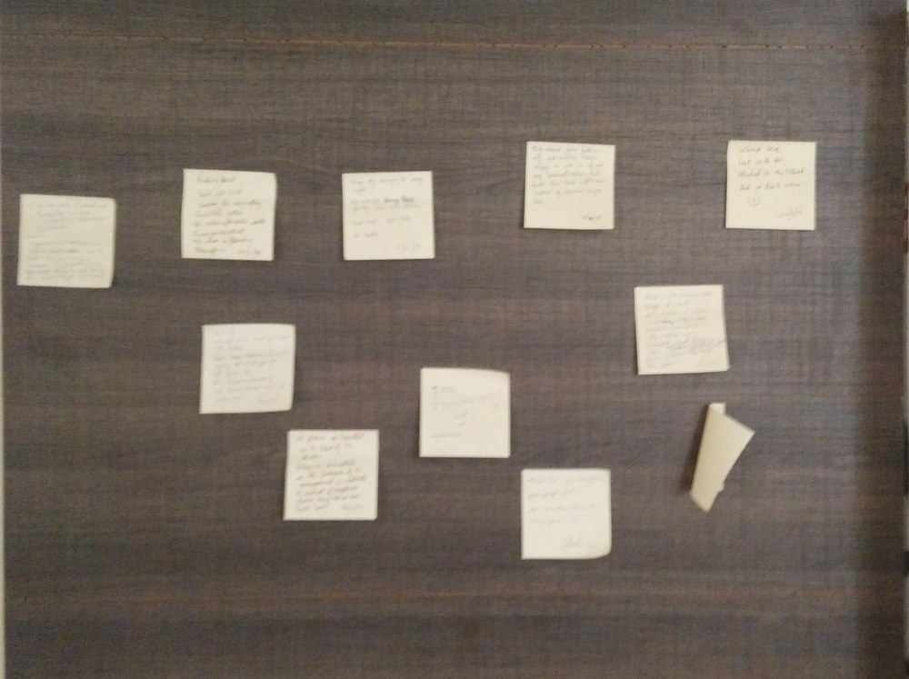 Post-Its with small Haikus on my wall